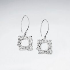 Cercei Argint 925-Patrat stilizat