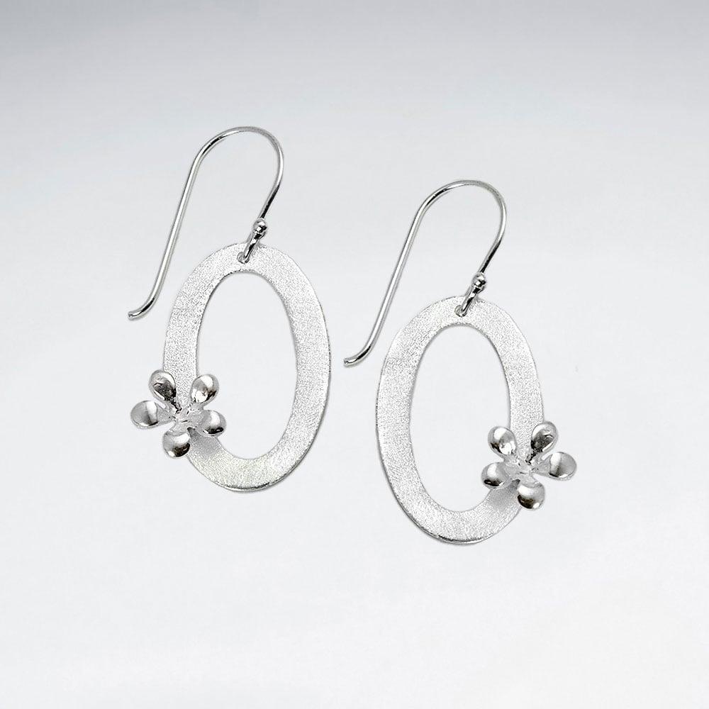 Cercei Argint 925-Oval inflorat