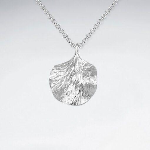 Pandantiv Argint 925-Frunza cu Valuri texturate