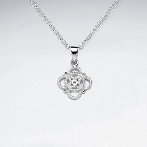 Pandantiv Argint 925-Trifoi norocos stilizat