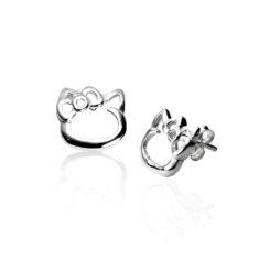 Cercei Argint 925-Silueta Hello Kitty